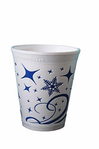 """Trinkbecher Thermobecher Styroporbecher Becher 0,2 l """"Snowflake"""" Glühwein Tee 200 ml Winter Sterne blau (120)"""