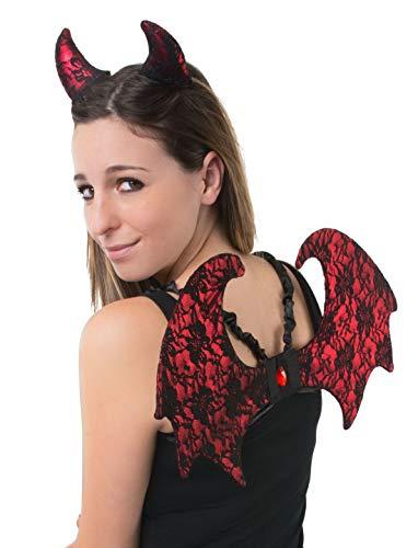 (costumebakery - Kostüm Accessoires Zubehör Teufel-Set mit Flügeln aus Spitze und Hörnern, Devil Set Lacy Wings and Horns, perfekt für Halloween Karneval und Fasching, Rot)