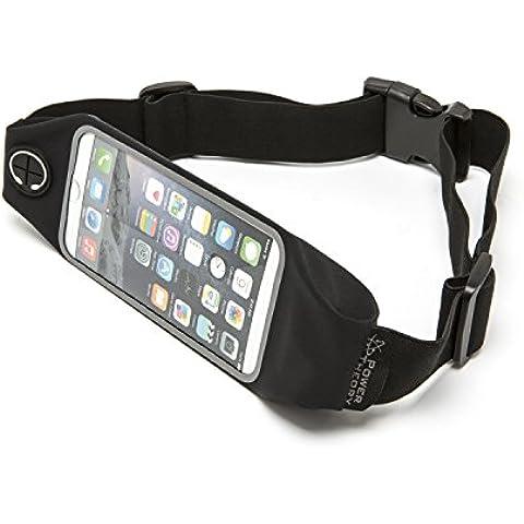 Cinturón de Running Elástico – Perfecto para Móvil y iPhone – Riñonera Deportiva Impermeable para Hombre y Mujer – Ventana Transparente para Controlar la Pantalla – Garantía de Reembolso (Negro)