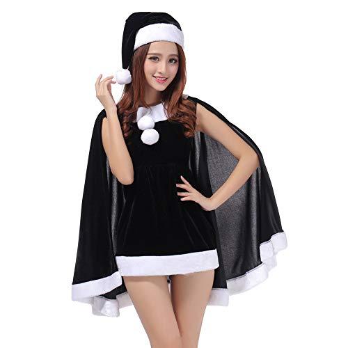 QIAOY Mädchen Kleid Santa Anzug Weihnachten Kostüme Claus Party Cosplay,Black (Black Santa Kostüm)