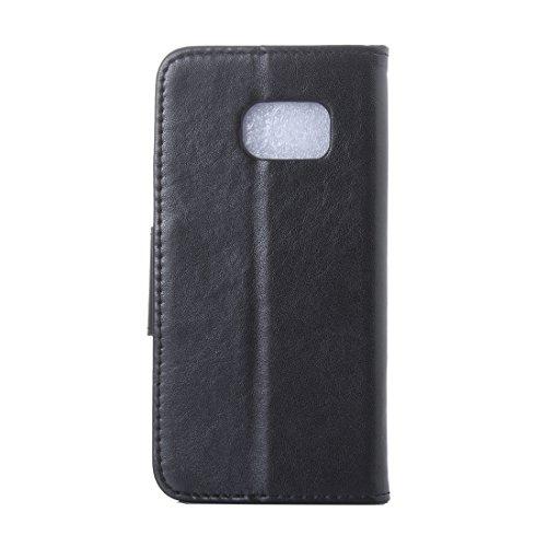 Samsung Galaxy S6 Cover Protettiva, Alfort 2 in 1 Custodia in Pelle Verniciata Goffrata Farfalle e Fiori Alta qualità Cuoio Flip Stand Case per la Custodia Samsung Galaxy S6 Ci sono Funzioni di Suppor Nero