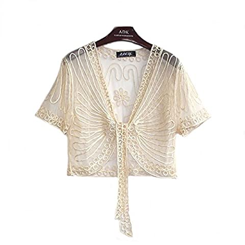 Women's Ladies Girls Short Sleeved Lace Mesh Gauze Crochet Knitted Embroidered Cropped Crop Bolero Shrug Waistcoat Cardigan Jacket Top Shawl Wrap Wedding Party Evening Prom Wear (14 UK,