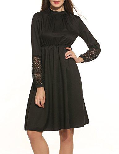 Zeagoo Damen elegant Kleid hohe Taillen A - Linie Vintage Partykleid langarm mit Häkelspitze und Schlüsselloch Schlitz am Rücken (Schwarz, M)