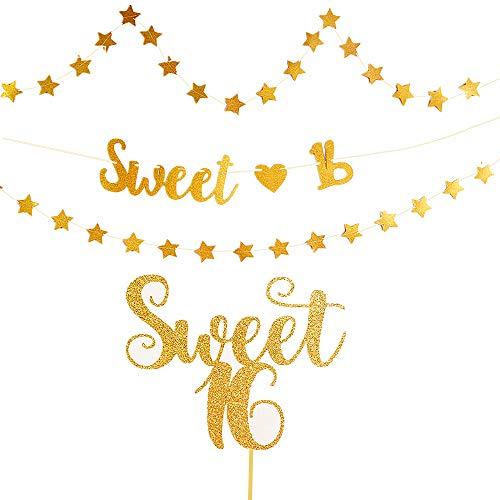 JeVenis Set von 4 Sweet 16 Cake Topper 16. Geburtstag Cake Topper Sweet 16 Banner 16. Geburtstag Party Supplies 16. Geburtstag Hochzeitstag Party Sign Dekorationen (Party Für Sweet 16 Die Dekorationen)