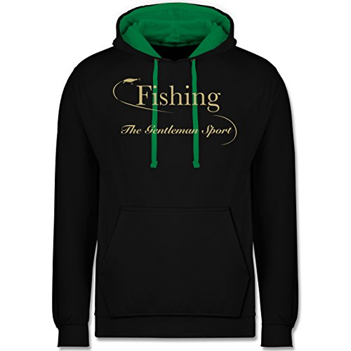 Shirtracer Angeln - Fishing - The Gentleman Sport - XL - Schwarz/Grün - JH003 - Kontrast Hoodie