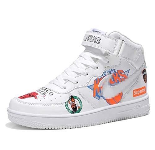 SHANGWU Scarpe da Ginnastica Casual da Uomo Casual Alte Ms. Aumenta l'altezza Hip Hop Graffiti Air Force 1 Scarpe Coppia Scarpe impiallacciate (Colore : Bianca, Dimensione : 42)