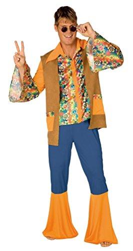 Retro Kostüme (,Karneval Klamotten' Groovy 60er 70er Jahre Hippie Peace Retro Karneval Kostüm Herren-Anzug inkl. Hemd Weste Schlaghose Stirnband Größe)