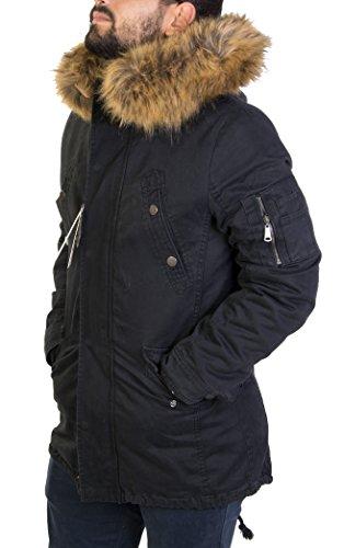 Antony morale giubbotto parka uomo invernale (nero;verdone;senape) interno di pelliccia di pecora staccabile cappuccio con pelliccia (pelliccia staccabile) uomo 3 colori art.252-21 (m 48, nero)