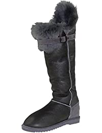 a322cc59d466bc Harrys-Collection Hohe Lammfell Stiefel mit Fester Sohle in 3 Farben