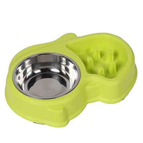 Pangding Pet Bowl, Anti-Choke Edelstahl Slow Eat Bowl Food Holder Wasser Feeder Dish für Hund Katze Welpen(Grün) (Hund, Slow Feeder Metall)