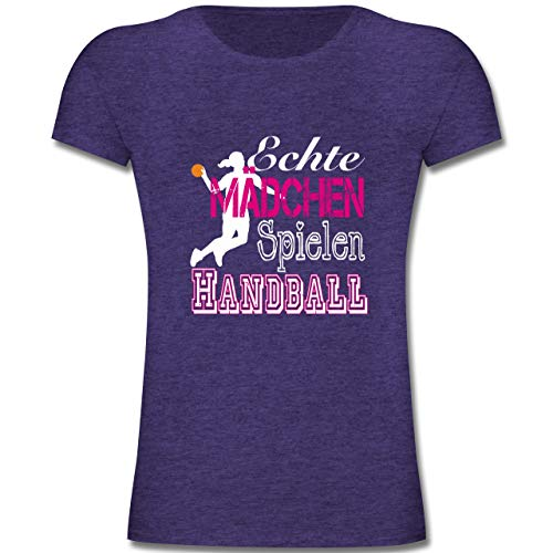 Sport Kind - Echte Mädchen Spielen Handball weiß - 164 (14-15 Jahre) - Lila Meliert - F131K - Mädchen Kinder T-Shirt