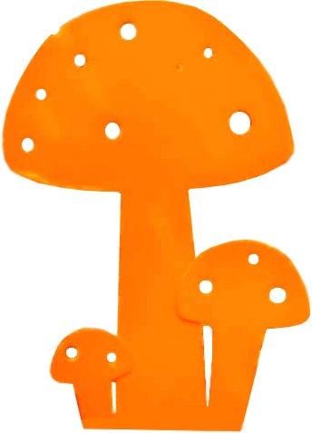 Champignon déco en métal orange 20cm