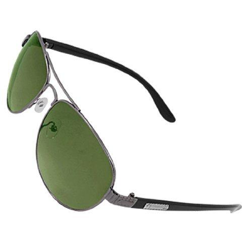 sourcingmap® Herren Doppel Brücke Brille Grün Linse Sonnenbrille - Schwarz Grün, Herren, One (Sunny Day Kostüme)