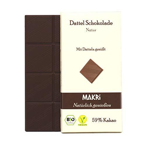 MAKRi Dattel Schokolade – Natur   59% Edelkakao Halbbitter   Mit gemahlenen Datteln gesüßt   Ohne Zusatzstoffe   laktosefrei & glutenfrei   Ohne raffinierten Zucker   Vegan & Bio