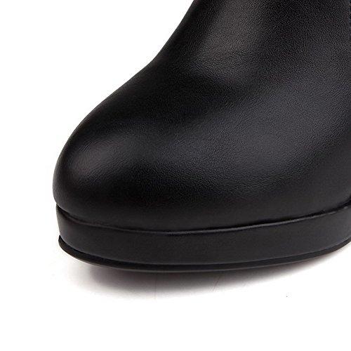 AgooLar Damen Reißverschluss Hoher Absatz Rein Niedrig-Spitze Stiefel mit Anhänger Schwarz
