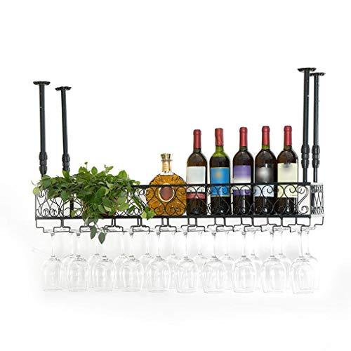 POLKMN Flaschenregal Weinregale Weinhalter Decke hängen montiert Metall Eisen Lagerung Regal Becher Stemware für Familie Bar (Size : 30 * 25cm) Stemware Fall