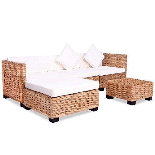 vidaXL Sofagarnitur 14-TLG. Natur Rattan Sofa-Set Rattanmöbel Couch Lounge Möbel -