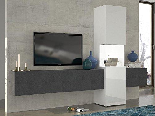 Wohnwand weiß hochglanz hängend  Wohnwand | Mediawand | Wohnzimmer-Schrank | Fernseh-Schrank | TV ...
