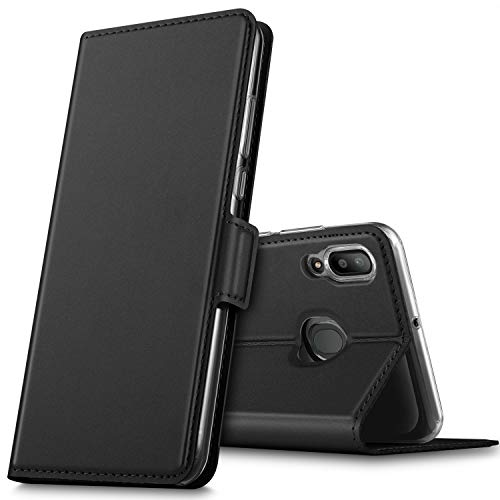 GeeMai Samsung Galaxy M20 Hülle, Leder Hülle Flip Case Wallet Stylish mit Standfunktion & Magnetisch Ledertasche Schutzhülle handyhüllen passt für Samsung Galaxy M20 Smartphone, Schwarz