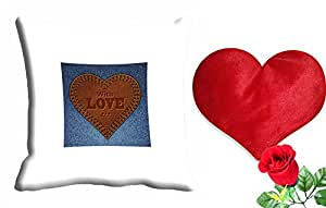 meSleep With Love Velentine Cushion Cover (16x16) - With Free Heart Shaped Filled Cushion and Artificial Rose