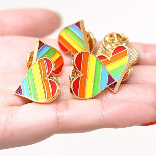 Tacobear 6X LGBT Gay Pride Insignia Metálico Arcoiris Prendedor Amor Corazon Pin Joyas para la Ropa Camisa Chaquetas Abrigos Tie Sombreros Gorras Bolsas Mochilas