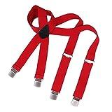 DonDon hombres tirantes 3,5 cm del ancho con 4 clips extra firme mate y cepillado de forma X rojo