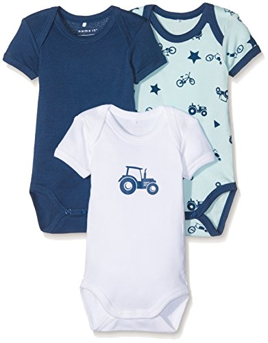 NAME IT Baby-Jungen Body NBMBODY 3P SS Ensign Blue NOOS, 3er Pack, Mehrfarbig, 62