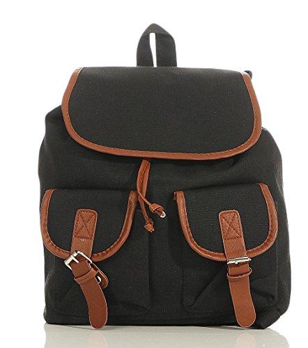 malito Damen Rucksack | Handtasche in trendigen Farben | Tasche mit vielen Mustern - Schultasche R800 (schwarz)