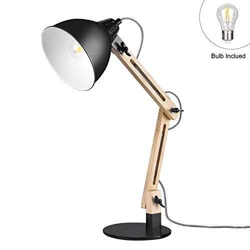 Viugreum- lampada da tavolo in legno regolabile, lampada da scrivania design moderno non trema frassino chiaro [lampadina inclusa e27 7w led 720 lm] [cavo 1,60m altezza 55 cm] (nera)