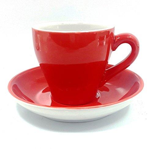 12tlg. Set Kaffeetassen Odense rot weiß Porzellan
