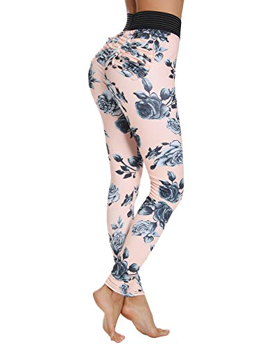 INSTINNCT Damen Leggings Gr. L, Floral Print - Pink -