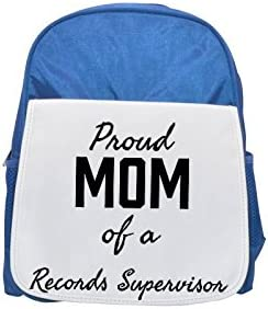 Proud Mom of a Records Supervisor printed kid's Bleu  backpack, Cute backpacks, cute small backpacks, cute Noir  backpack, cool Noir  backpack, fashion backpacks, large fashion backpacks, Noir  fashion | Excellent (dans) La Qualité