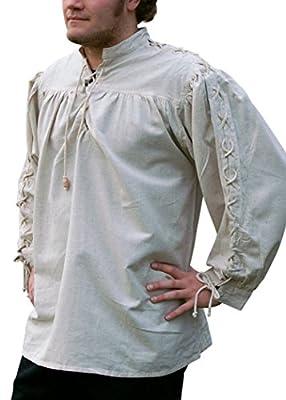Battle-Merchant Mittelalterhemd, geschnürt, naturfarben aus Baumwolle/Leinen Mittelalter, LARP, Wikinger