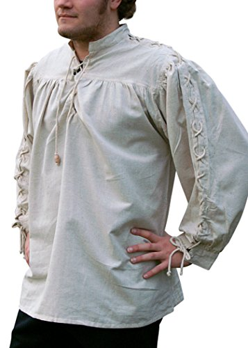 elalterhemd, geschnürt, naturfarben aus Baumwolle/Leinen Mittelalter, LARP, Wikinger Größe XXL ()