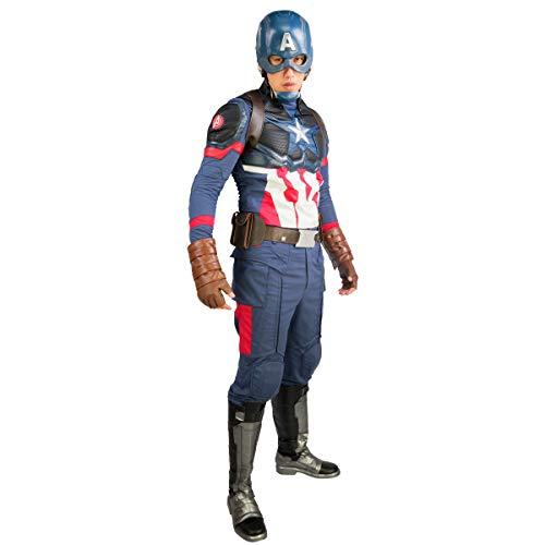 Kostüm Superhelden Ohne - Wellgift Captain America Kostüm Cosplay Endgame Erwachsene Herren Superhelden Top & Hose & Gürtel Harness Outfit Halloween Kostüm Kleidung Anzug ohne Helm