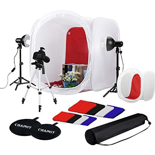 CRAPHY Fotostudio Lichtzelt Set 44cm/78cm Tragbare Licht Box Lichtwürfel mit 2x45W 5500K Dauerlicht Beleuchtung inkl 4 Farben Hintergründe...