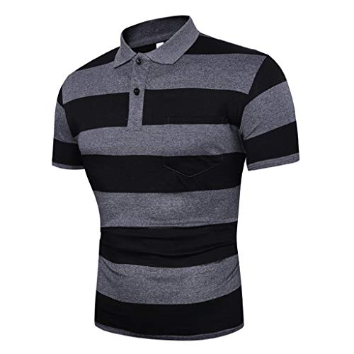 MNRIUOCII Herren Poloshirt Kurzarm Hemden Quick Dry Golf Polo Shirt Trachtenhemd Polo T-Shirt Streifen Freizeithemd Polohemd T-Shirt Shirt Mit Polokragen Oberteile -
