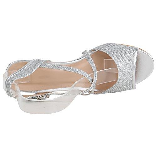 Stiefelparadies Damen Schuhe Riemchensandaletten Lack Glitzer Sandaletten Party 157231 Silber Glitzer 38 Flandell - 3