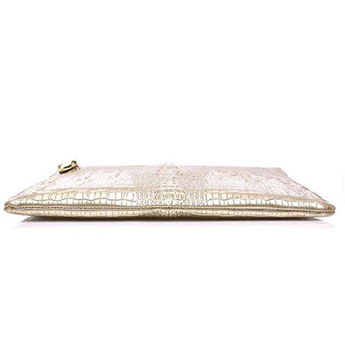 Nai LiLadies Borse Spalla Diagonale Grande Capacità Banchetto Decorazione Frizione In Pelle White