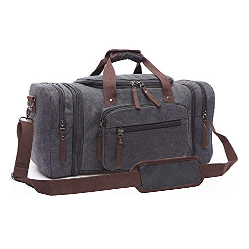 Befen Canvas Duffle Bags, Hand Luggage,Sports Duffel Holdall for Unisex Overnight Weekend Daypack Travel Tote Bag for Men and Women-Black