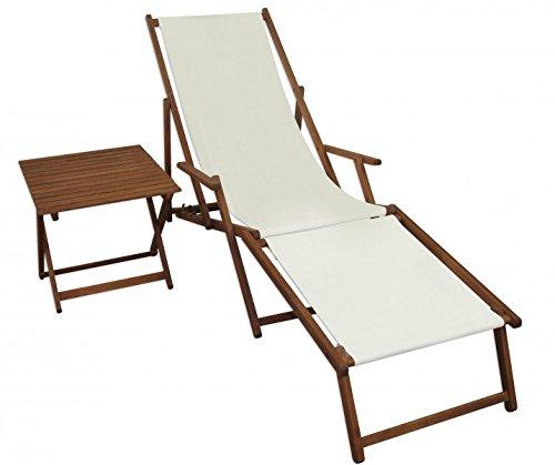Erst-Holz Sonnenliege weiß Liegestuhl Fußteil Tisch Gartenliege Deckchair Strandstuhl Gartenmöbel...