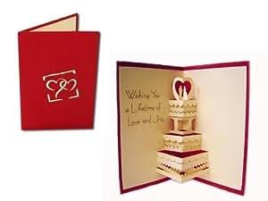 Carte Pop-Up pour mariage Motif gâteau de mariage