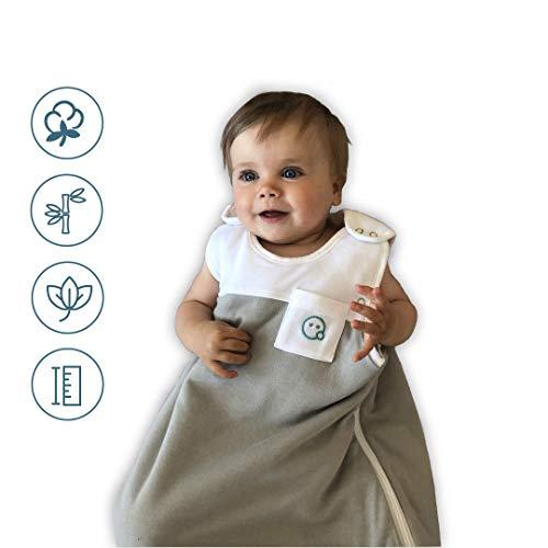 VABY - Babyschlafsack OEKO-TEX®, aus Baumwolle und Bambus, größenverstellbar, weiß/grau, Kinderschlafsack mitwachsend, Baby Schlafsack für Neugeborene, Junge und Mädchen