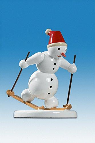 Holzfigur Weihnachtsfigur Schneemann Langlauf klassisch Höhe ca 6,5 cm NEU