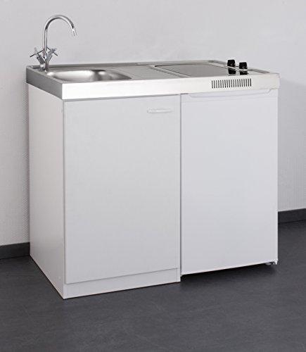 MEBASA MK0006 Singleküche, Miniküche 100 cm Weiß mit Duo-Ceran ...   {Singleküche mit kühlschrank 46}