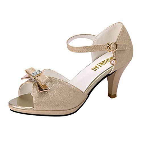 NINGSANJIN Damenschuhe Sandalen & Sandaletten High Heel Sandaletten mit Hohen Absätzen Schuhe Hochzeit Abend Parteischuhe Sommerschuhe Gold 37