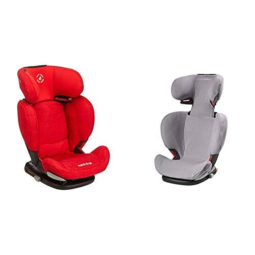 Maxi.Cosi RodiFix AirProtect (AP) Kindersitz, mitwachsender Gruppe 2/3 Autositz (15 - 36 kg), ISOFIX-Sitzerhöhung mit Seitenaufprallschutz, nutzbar ab 3,5 - 12 Jahre, nomad blue + Sommerbezug, grau