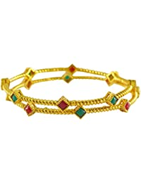 Rejewel Red And Green Cz Stone Bangles For Wedding Size 2.4