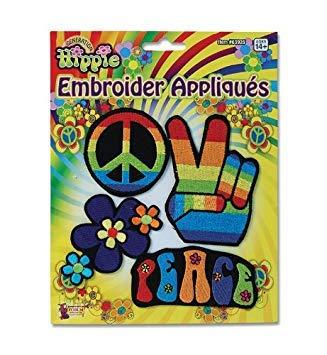 Hippy Appliques 70S Hippy Hippie Retro Austin Powers Peace Fancy Dress