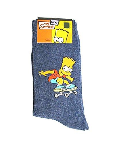 Chaussettes enfant Bart Simpson - Taille 35-38 - Les Simpsons skateboard bleu